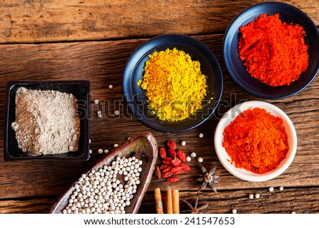Food ingredient, Powder spices on cup in on old wood table background - stock photo