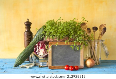Food ingredients and kitchen utensils,free copy space - stock photo