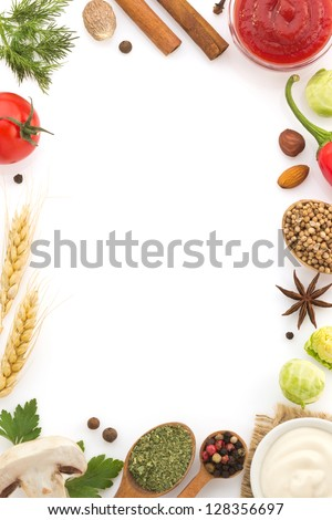 food ingredients and spices isolated on white background - stock photo