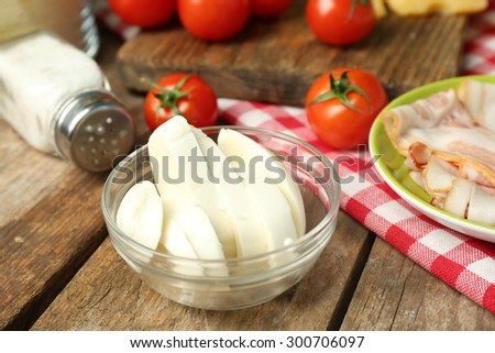 Food ingredients for cooking on table close up - stock photo