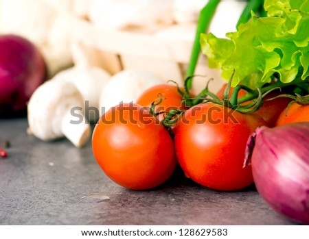 Food ingredients on the kitchen table - stock photo