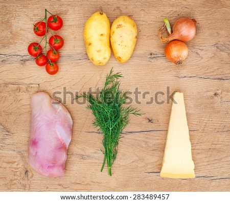Food ingredients on wooden tabletop. Top view. - stock photo