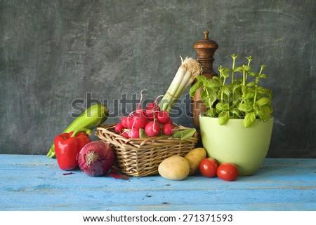 food ingredients, various vegetables,free copy space - stock photo