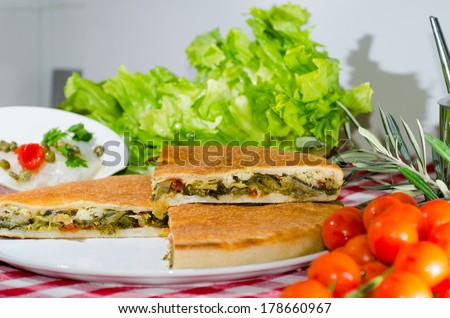 food made ??with cod and escarole - stock photo
