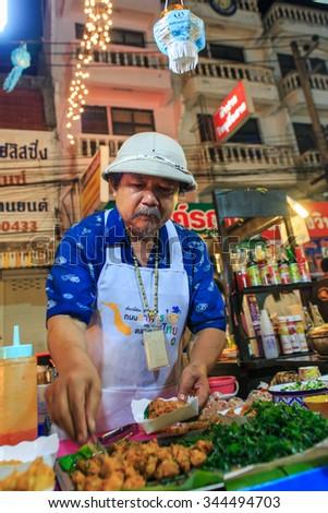 "Food merchants - Merchants sell food - on the festival ""Loy krathong""  of Lampang Province, Thailand - 26 November 2015. - stock photo"