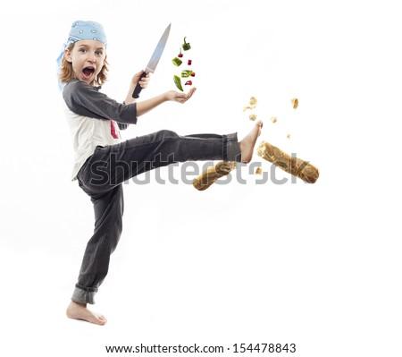 Food ninja chopping peppers - stock photo