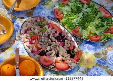 Food nomads in the desert - stock photo