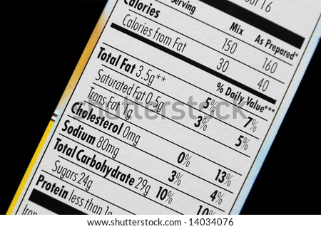Food nutrition label - focus on fat - stock photo