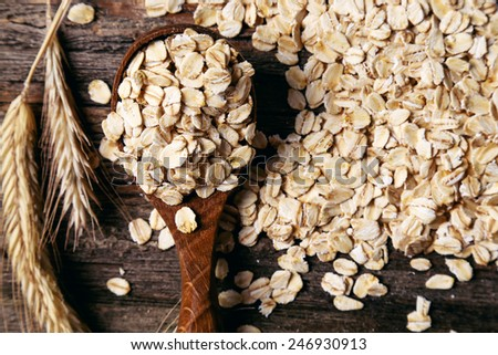 Food. Oatmeal on the table - stock photo