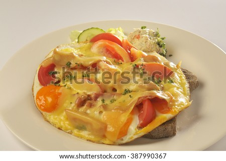 Food: omelette with onion and tomato - stock photo
