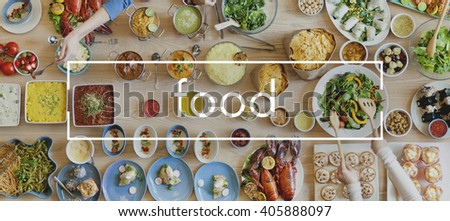 Food Party Buffet Delicious Cuisine Gourmet Togetherness Concept - stock photo