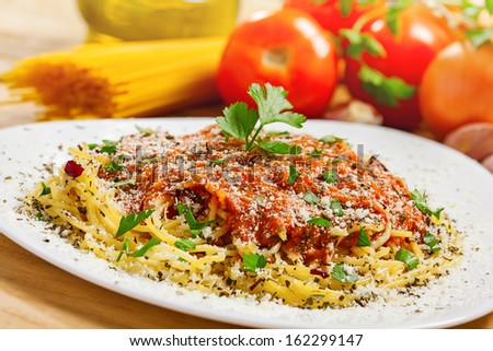 Food, Pasta close-up, ingredients on background - stock photo