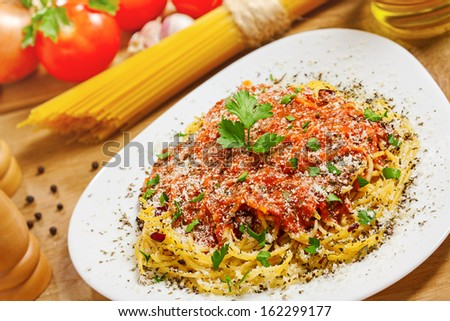 Food, Pasta with ingredients - stock photo