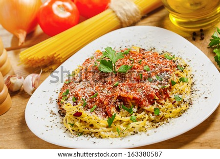 Food, Pasta with sauce, ingredients on background - stock photo