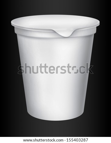 Food plastic container , dessert, yogurt, ice-cream, sour cream with cover. Packing for the isolation of the product on a black background with reflections and soldering white color  - stock photo