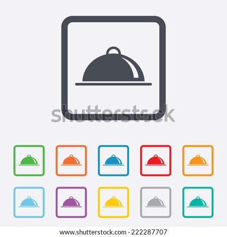 Food platter serving sign icon. Table setting in restaurant symbol. Round squares buttons with frame. - stock photo