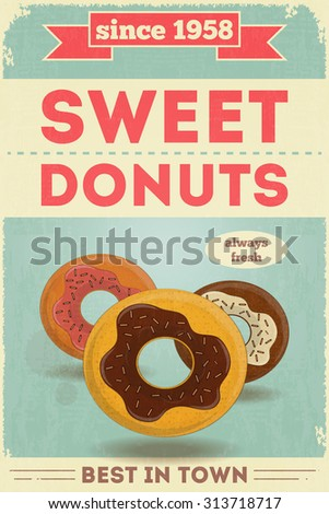 Food Poster. Advertise with Donuts.  - stock photo