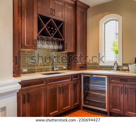Food Prep and Wine Storage Room in Luxury Home - stock photo