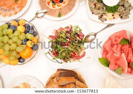 Food prepared in restaurant on the table - stock photo
