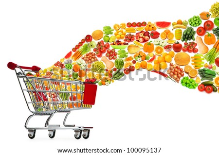 Food products flying out of shopping cart - stock photo