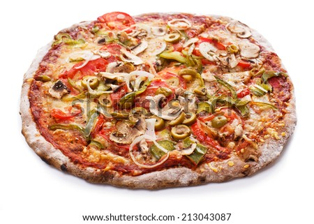 Food, restaurant. Delicious pizza on the table - stock photo