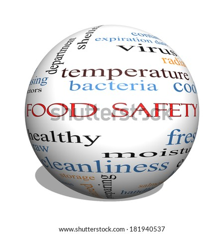 Food Safety 3D sphere Word Cloud Concept with great terms such as hazards, e coli, cooking and more. - stock photo