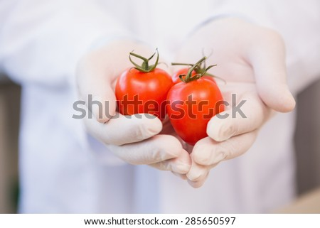 Food scientist showing tomatoes in laboratory - stock photo