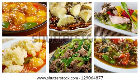 Food set of different  asiatic,chinese,Japanes meat .collage - stock photo