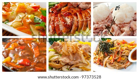 Food set of different chinese cuisine . collage - stock photo