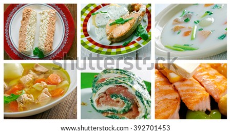 Food set of different fish salmon. collage - stock photo