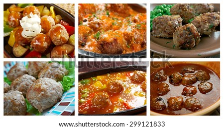Food set of different  meatballs . collage - stock photo