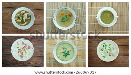 Food set of different soups. collage - stock photo