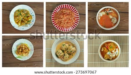 Food set oriental cuisine.collage - stock photo