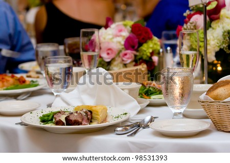 Food set out on a plate during a wedding or other catered event. - stock photo