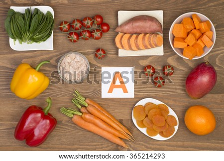Food sources of beta carotene and vitamin A - stock photo