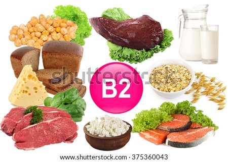 Food sources of vitamin B 2, isolated on white - stock photo