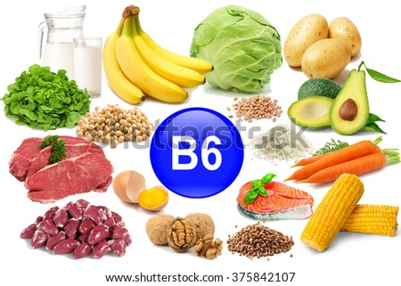 Food sources of vitamin B 6, isolated on white - stock photo