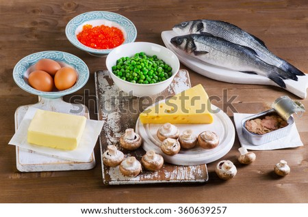 Food sources of vitamin D.  - stock photo