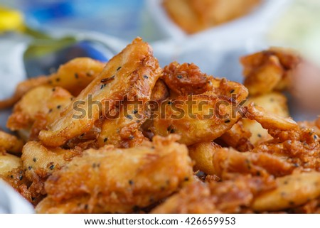 Food,Thai food, Fried bananas,fried bananas on rattan tray. A traditional food in some places in south east asia. - stock photo