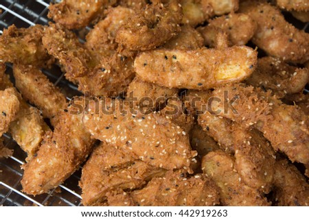 Food,Thai food, Fried bananas on tray. - stock photo
