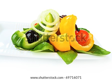 Food theme: fresh vegetable salad. - stock photo