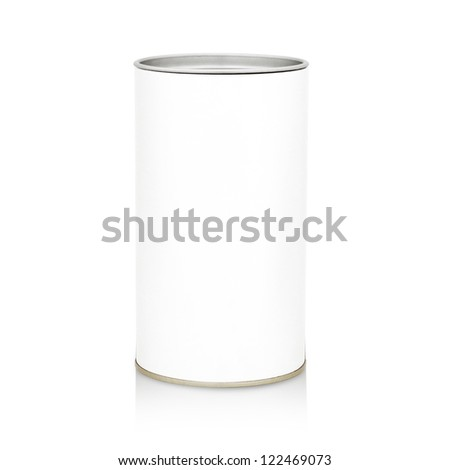 Food Tin Can with Blank White Label - stock photo