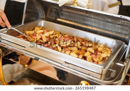 Food tray potatoes - stock photo
