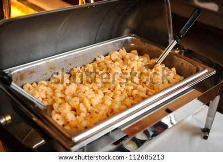 Food trays in buffet - stock photo