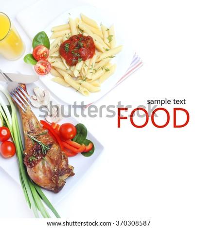 Food  turkey roast vegetable pasta - stock photo