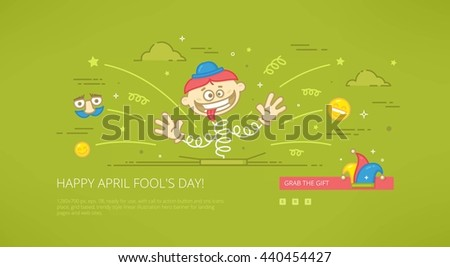 Fool day april holiday modern line illustration for web banners, hero images, web sites and landing pages with call to action button. Ready for use - stock photo
