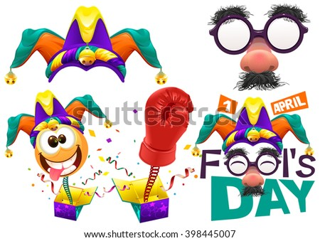 Fools cap smile on spring. Funny glasses nose. April Fools Day lettering text for greeting card. 1 April Fools Day. Isolated on white illustration - stock photo
