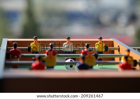foosball.. toy soccer ball - stock photo