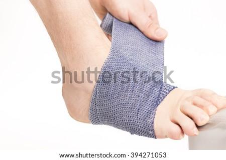 Foot ankle bandage - stock photo