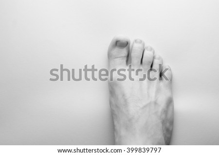 foot, black and white photo - stock photo